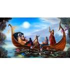 Radha and Krishna and Gopis on Boat