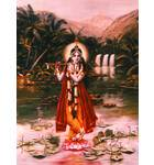 Krishna Standing on a Lotus Flower Playing His Flute