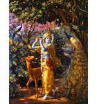 Krishna With Deer and Peacock in Vrindavan