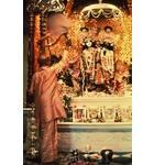 Srila Prabhupada Offers Aroti to Krishna Balaram