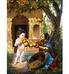 Krishna and Fruit Vendor Painting