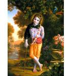 Krishna in Forest with Cane Painting