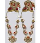 Crown and Necklace Set -- with Red Thread Work & diamond / gold look (pair)