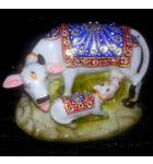 """Cow with Calf decorated with Imitation Diamonds 5"""" (Polyresin)"""