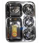 Bhojan Thali Prasadam Plate Sets -- Stainless Steel - 5 sections