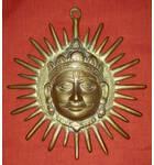 """Brass Surya Sun God Deity (8"""")"""