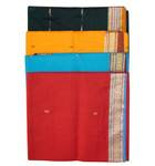 Sari, Cotton Printed  -- South Indian Solid Color With Shiny Border