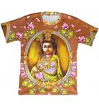 T-Shirt: Krishna Holding Flute (brown) -- All-over print
