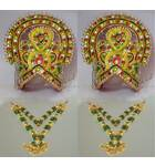 """Large Crown and Necklace Set -- Type 1 -- For 20""""-30"""" Deities (pair)"""